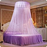 Mosquito Net - Opening Ceiling Dome Round Cute Princess Student - Suitable for bed 3.9-5.9 INCH (purple)
