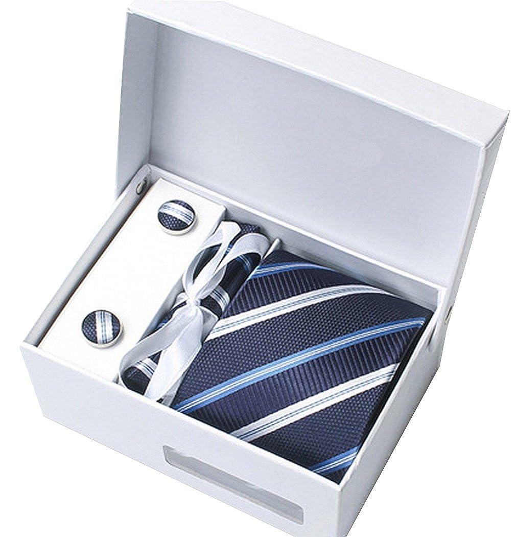 MARRYME Herren Krawatten Set mit Krawatten ManschettenKnöpfe Einstecktuch Krawatte Clip mit Geschenkbox Geschenkbeutel für Hochzeit Geburtstag Weihnachten Vatertag
