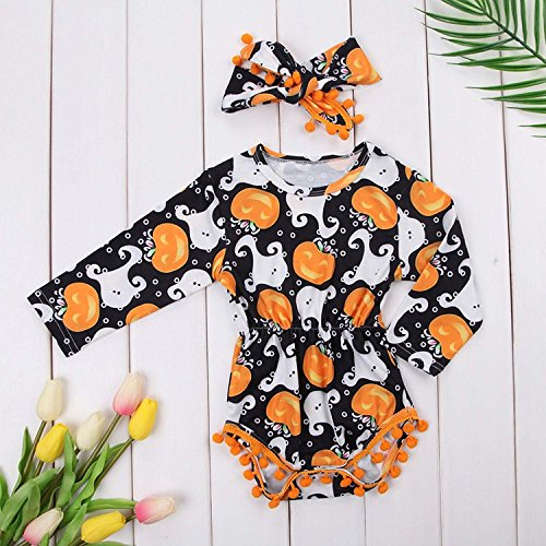 My First Halloween Outfit Sets Newborn Pumpkin Bodysuit with Headband Baby Girls Clothes(0-3M by Okgirl (Image #5)