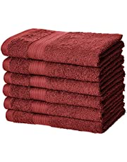 AmazonBasics Fade-Resistant Cotton Hand Towel - Pack of 6, Crimson Red
