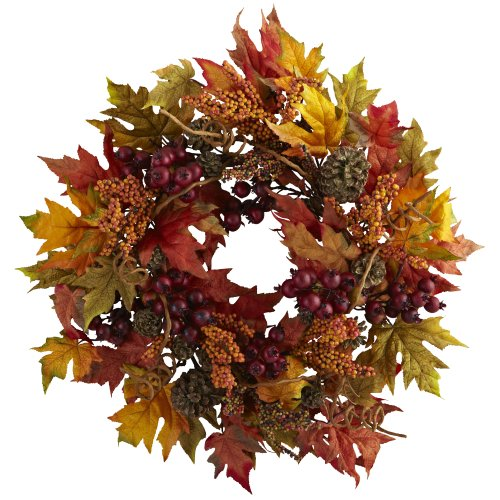 Nearly Natural 4810 Maple and Berry Wreath, 24-Inch, Multicolored-Orange/Brown ()