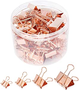Binder Paper Clips, Assorted Sizes Set (Mini, Small, Medium, Large) for Office School and Home Supplies (Rose Gold)
