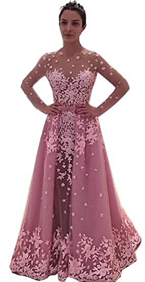 Baijinbai Candy Pink Long Sleeve Prom Dress Lace Appliques Overskirt Evening Gown Pink UK06