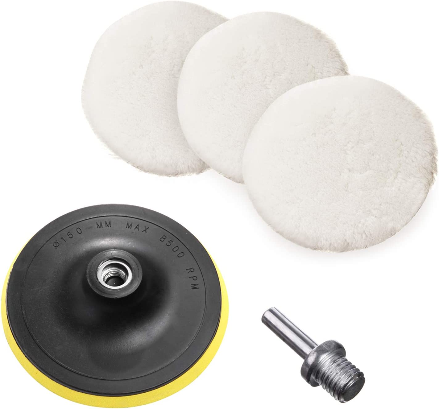 WANYUE Polishing Pads 6C inch Kit, Wool Buffing Pads Back Plate with M14 Drill for Car Polishing Waxing 5 Pcs