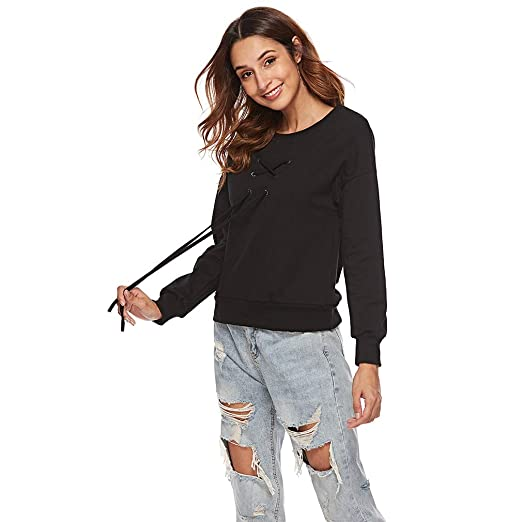 d07806b1d906e6 Image Unavailable. Image not available for. Color: EH-LIFE Women Casual  Long Sleeve Criss Cross Front Round Neck T-Shirt Sweatershirt