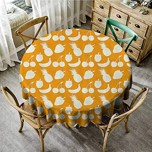 familytaste Christmas Round Tablecloth Vintage,Retro Pattern Silhouettes of Fruits and Pineapple Strawberry and Cherries Art,Orange and White D 70