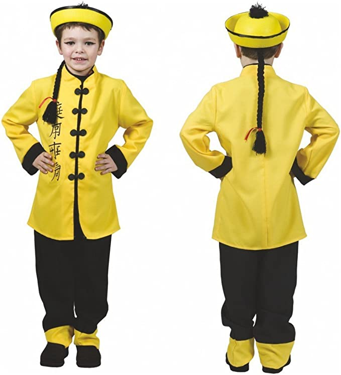 Funny Fashion Costume da bambino cinese Costume giallo pantaloni cinesi Costume Fasching (164)