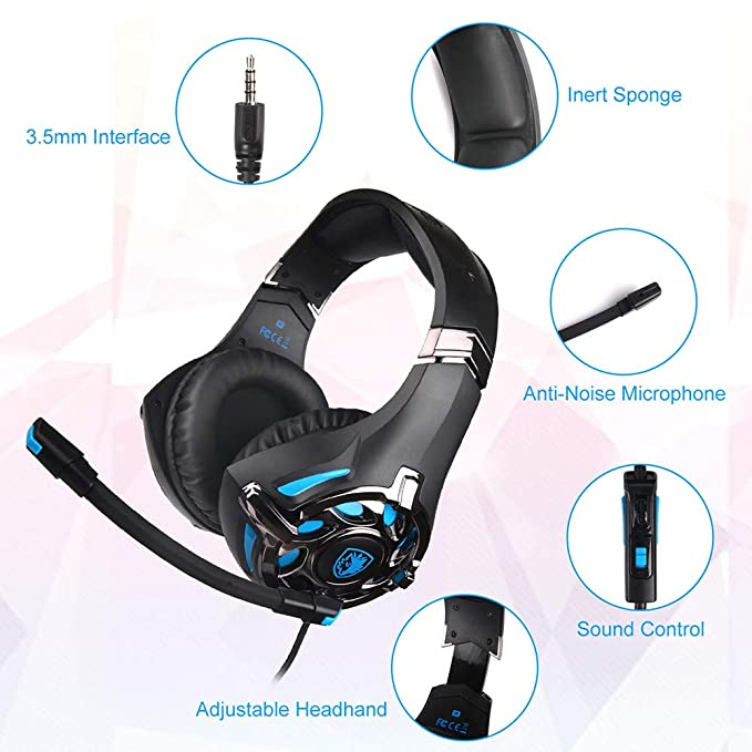 Amazon.com: Gaming Headphone,Over-Ear Headphone For Xbox One/PlayStation 4/PS4/PC/Nintendo 3DS/ Laptop/PSP/Tablet/iPad/Computer/Mobile Phone (Blue): ...
