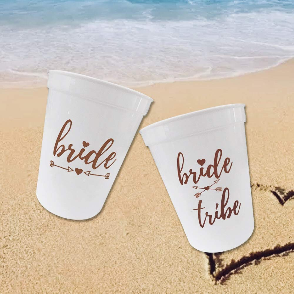 Rose Gold Bachelorette Party Bride Tribe & Bridal Shower Cups, Engagement Party Decorations,Bride to be Gift with 12 Piece Bonus Bride & Bride Tribe Tattoos(16 oz- 12 Count)