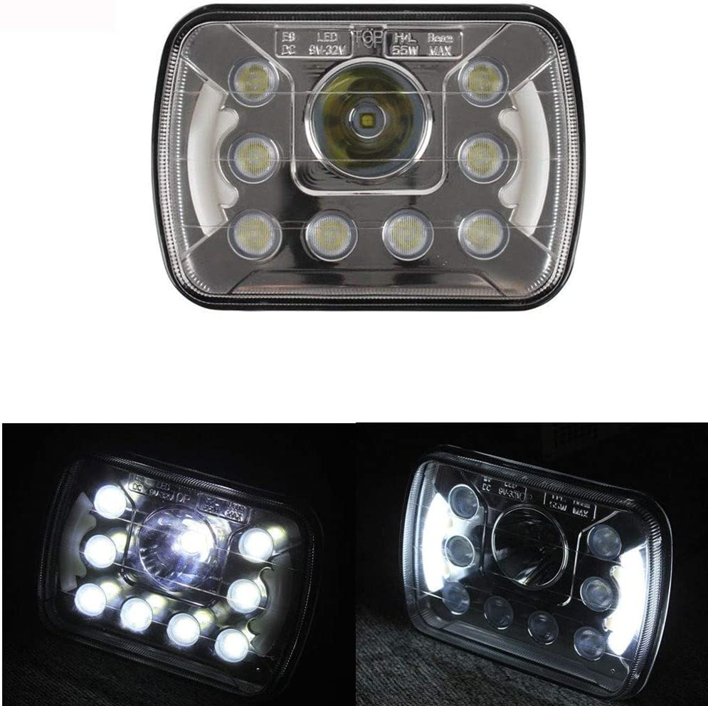 Lantsun 7x6 Dual Beam Crystal Clear Sealed LED Headlights w/DRL H6014 H6052 H6054 (1 Pc) LED6455