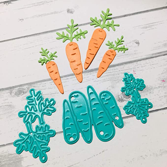 Bunny Rabbits with Slim Thin Carrots Dies and Stamp Sets for Card Making Be Creative Die Cuts Match Clear Rubber Stamp Sets for DIY Scrapbooking Paper Crafting Embossing Stencil Handmade Crafts