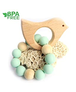 Loouer Wooden Teether for Babies Bird Teething Bracelet Toy Nursing Toy for Baby Natural Wood Teething Rattle for Toddler Early Perceive and Count Toys Photography Props (Green)