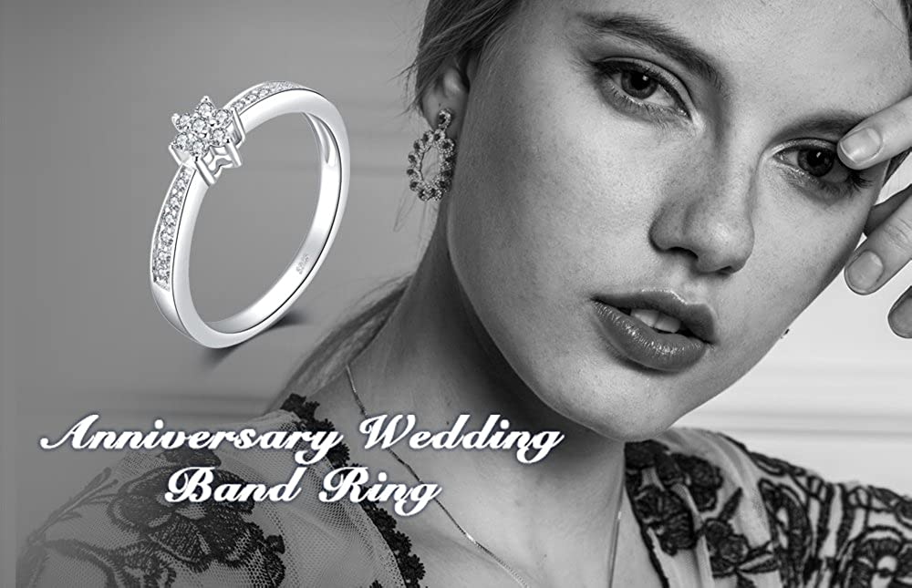 JewelryPalaceFlower Infinity Love Knot Cubic Zirconia Anniversary Promise Wedding Band Ring 925 Sterling Silver