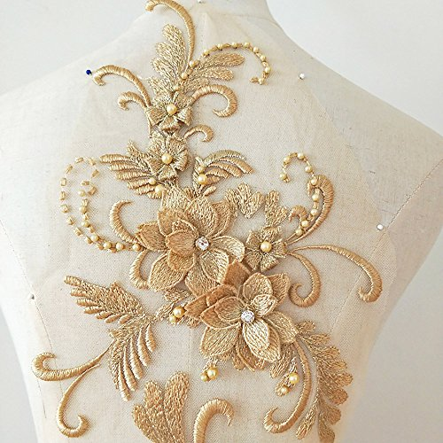 3D beaded flower sequence lace applique motif sewing bridal wedding 3in1 20cmx72cm (Gold)