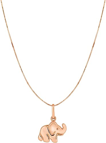 10K Rose Gold 0.45mm Shiny Box Chain with Spring Ring Clasp