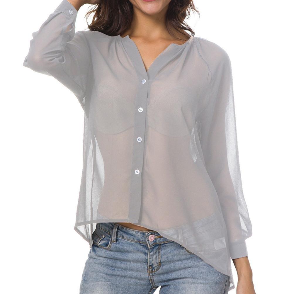 f310022b76 PAOLIAN Blusa de Mujer Tallas Grandes Manga Largas Otoño 2018 Sexy Camisetas  con Botones Ropa para Mujer Escote V Sólido Ancho Gasa Blusa Casual Camisa  ...
