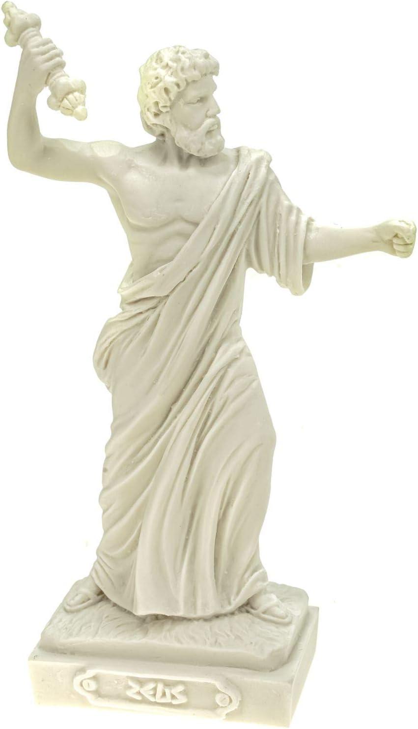 Alabaster Deko Figur Zeus nordischer G/öttervater 16 cm Skulptur wei/ß