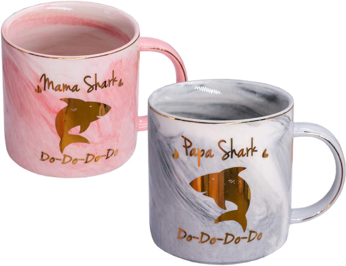 Mugpie Mama Shark and Papa Shark Couples Coffee Mugs - Novelty New Parents Gifts First Time Pregnancy Gifts for Baby Shower Mother's Day Father's Day Christmas 2020-12.5oz Pink Ceramic Coffee Cup Set