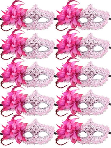 10pcs Set Mardi Gras Half Masquerades Venetian Masks Costumes Party Accessory (pink 1) - Murder Mystery Costumes