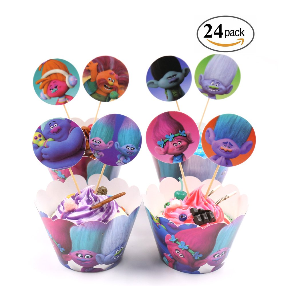 Trolls Party Supplies Cupcake Toppers and Wrappers Decorations