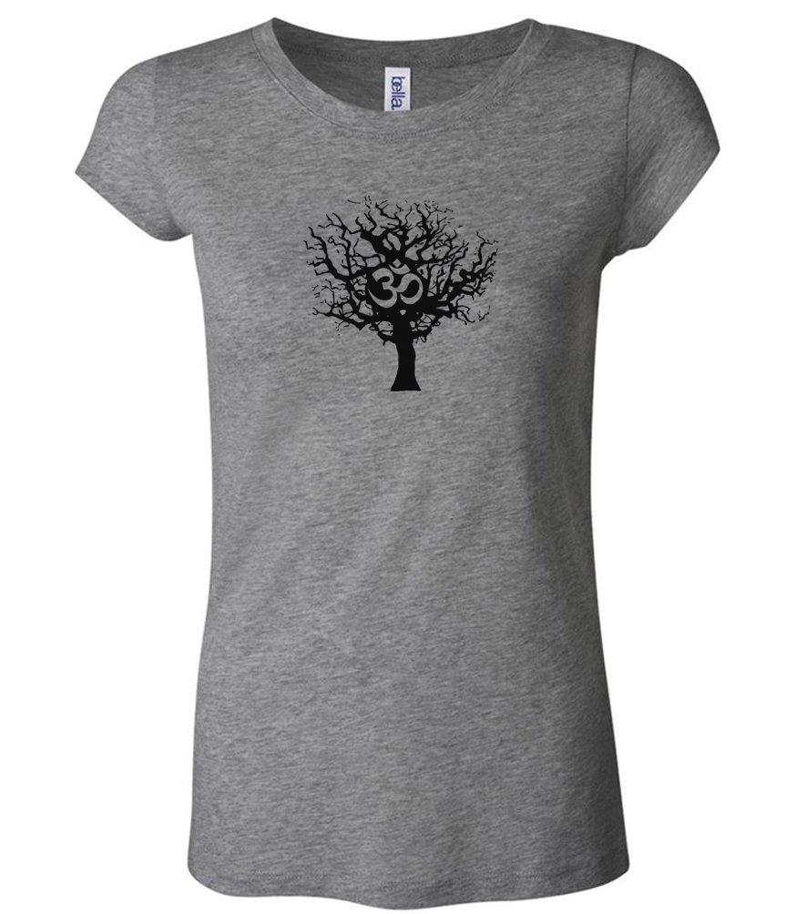 A&E Designs Ladies Yoga Shirt Black Tree of Life Longer Length Tee T-Shirt