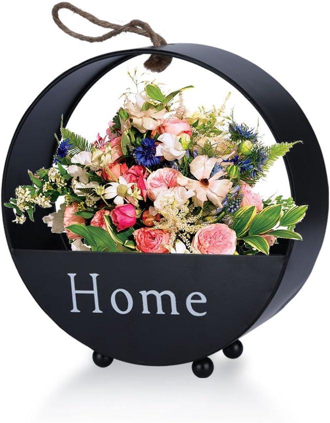 Fdit Iron Round Hanging Plant Pot for Succulents Flowers Herbs Indoor Outdoor Black