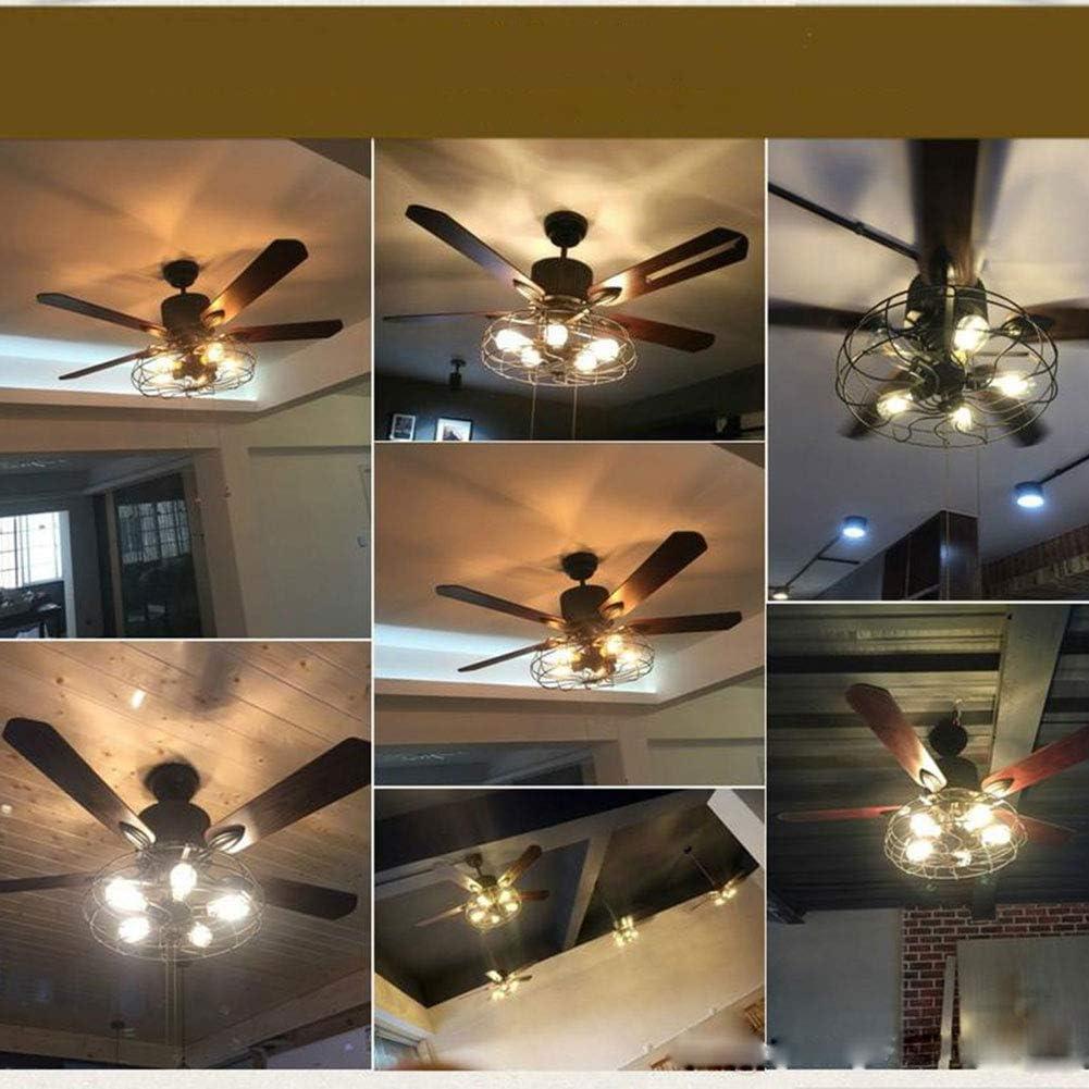 dormitorio Crear jaula de hierro estilo r/ústico sala de estar Retro industrial ventilador de techo luz 52 pulgadas 5 luces E27 l/ámpara para restaurante