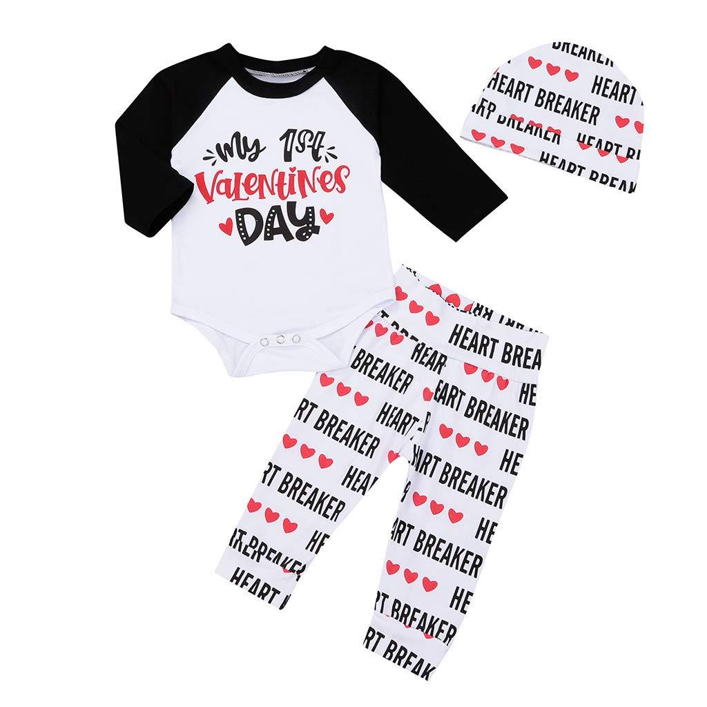 San Valentino Regali Baby Bodysuit 3 Set Valentine Cuore Stampa Personalizza Pagliaccetto+Pantaloni+Copricapo Carino Rossa Cartone Animato Abitini Bimba Body Neonato Vestiti Fotografica 80