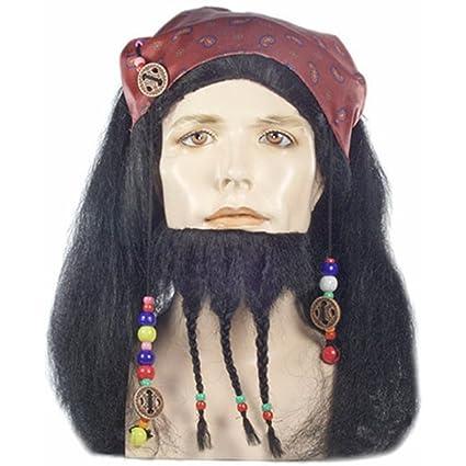 Capitán Jack Sparrow peluca y barba de piratas del Caribe traje para hombre