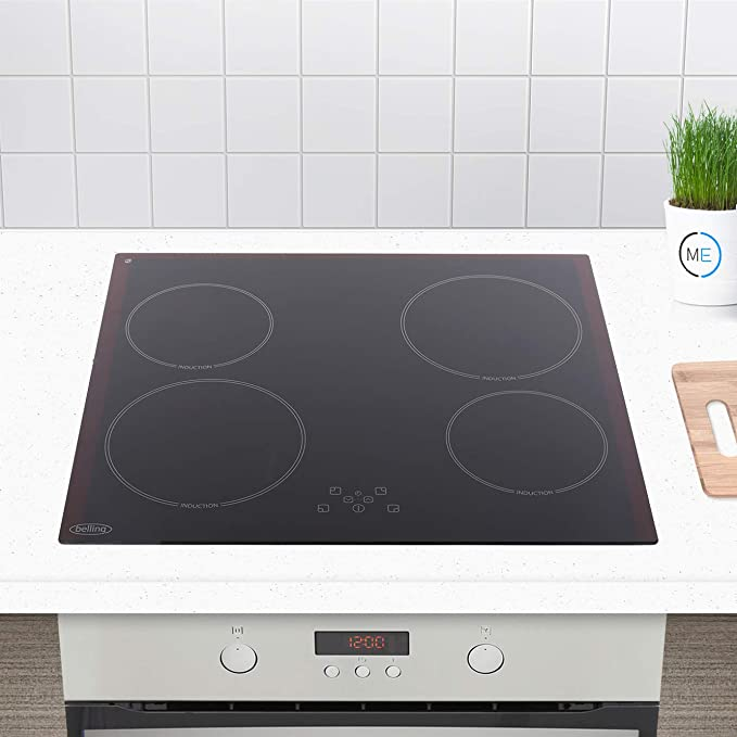 Belling IHT613 59cm Touch Control Four Zone Induction Hob For Plug-in Connection Black