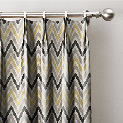 ChadMade Pinch Pleat Chevon Zigzag Print Curtain With Blackout Lining In 72W x 96L Inch (1 Panel), Yellow Theme