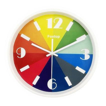 """Foxtop 10 """"/26 cm Moderno Colorido Reloj de Pared silencioso para Dormitorio salón"""