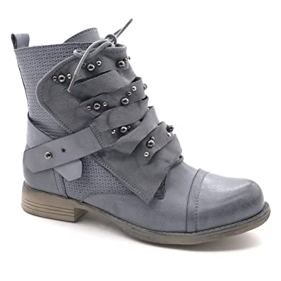 e36d813371460 Angkorly Women s Fashion Shoes Ankle Boots - Booty - Biker - Cavalier -  Multi Straps - Pearl - Studded Block Heel 2.5 cm