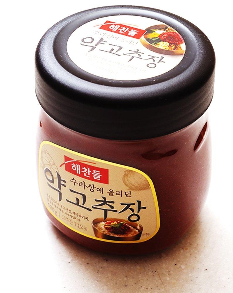 Korean food CJ Haechandle Korean Chili Pepper Paste Gochujang 500g ,수라상 약고추장 Promotional Gifts Party food nutrition sauces