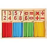 Colorido Juguetes de madera Bloques de Construcción Contando los palillos para niños, preescolares educativos de la matemáticas