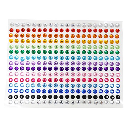 SANC 300 Pieces 5mm Multicolor Bling Rhinestone Sticker Sheet Gem Diamond Self Adhesive ()