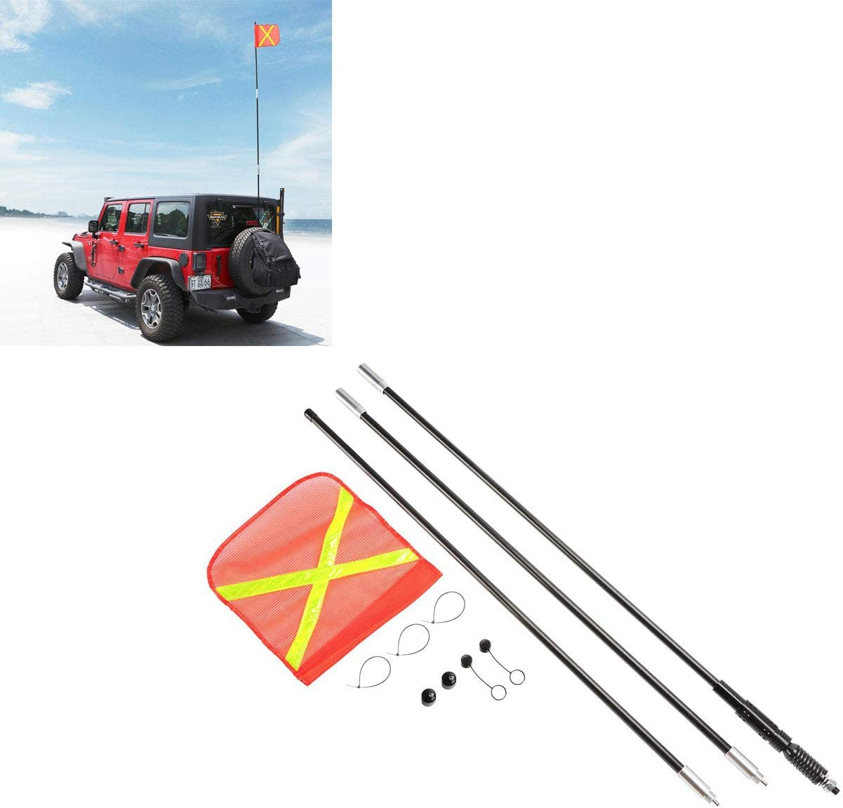 TOPAUP Sand Flags Pole 3M Flagpole Safety Flag for Car Offroad Snowmobile Motorcycle Outdoor