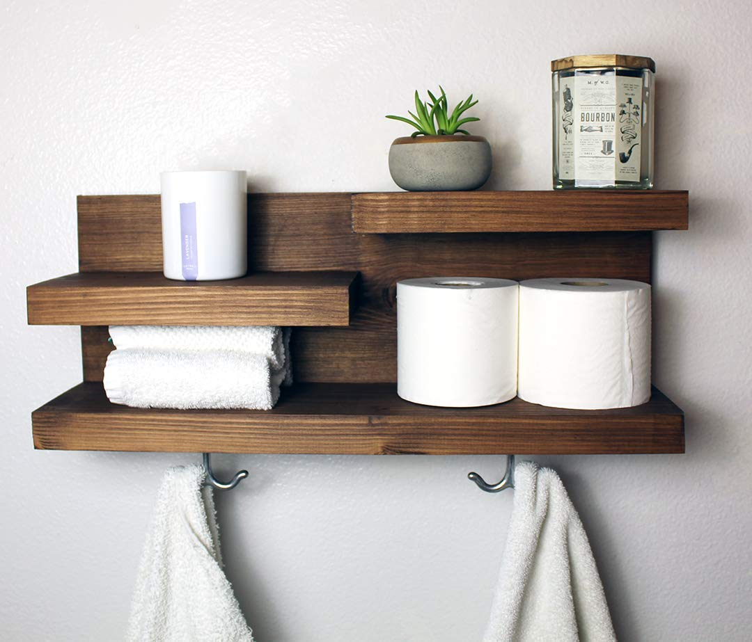 Amazon Com Modern Farmhouse Bathroom Shelf With Towel Hooks Handmade