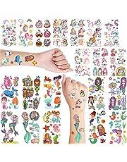 Mermaid & Unicorn Temporary Tattoo For Girls - Temporary Tattoo For Kid - Fake Tattoo For Kids - Unicorn Tattoo Sticker For Kids - Face Tattoo For Kid - Set of 2, 20 Sheets (135 Designs)