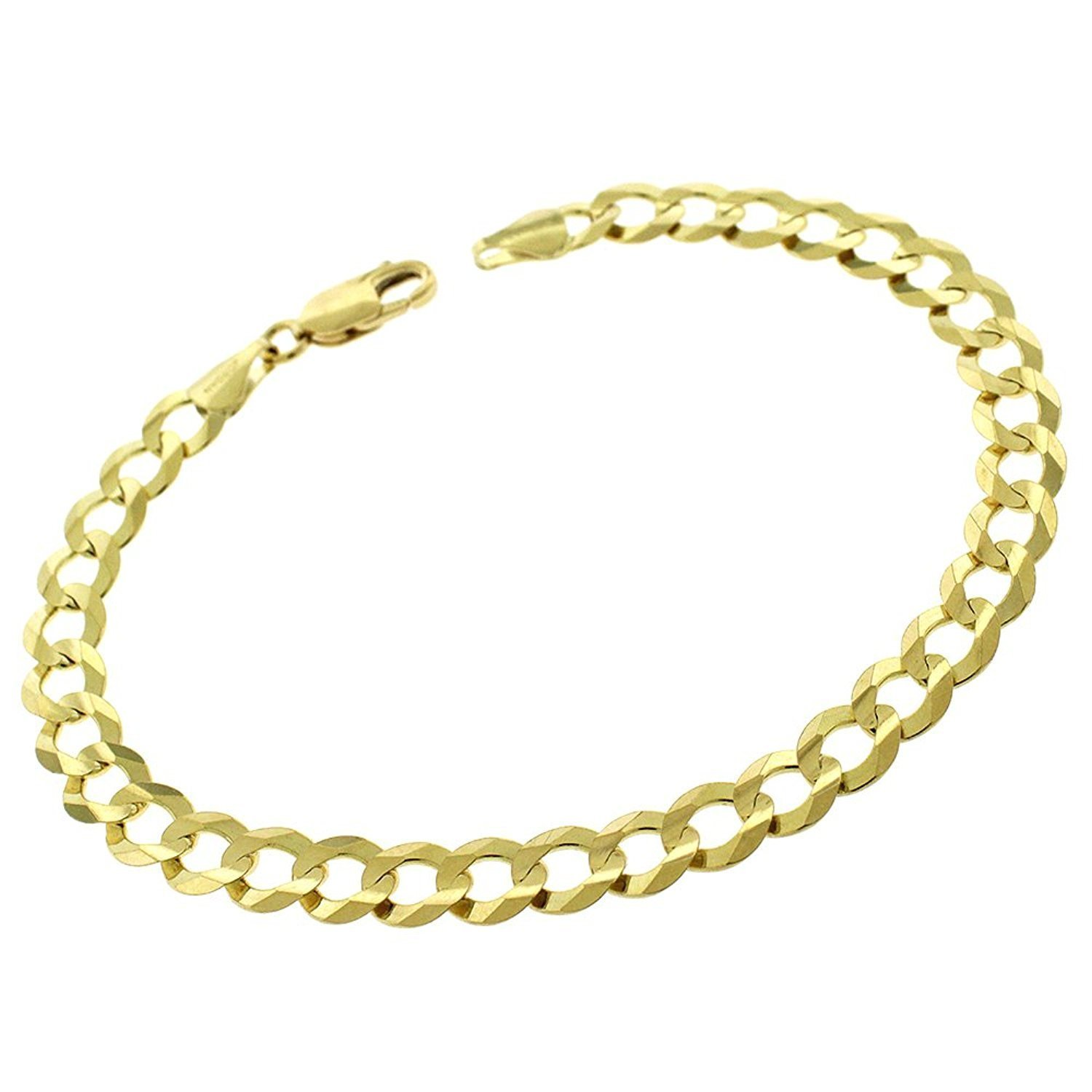 14k Yellow Gold 7mm Solid Cuban Curb Link Bracelet Chain 8'', 8.5'', 9'' (8.5)