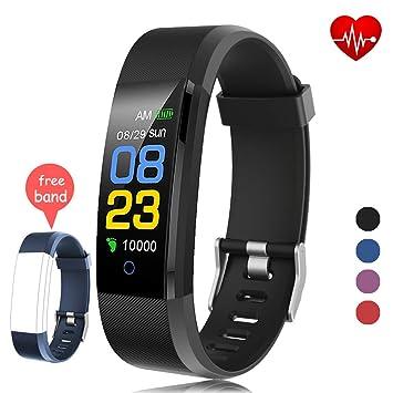 cbf5ee4ba61e Fitness Tracker Waterproof, Activity Tracker Watch con monitor de ritmo  cardíaco, banda inteligente con monitor de presión arterial, contador de ...