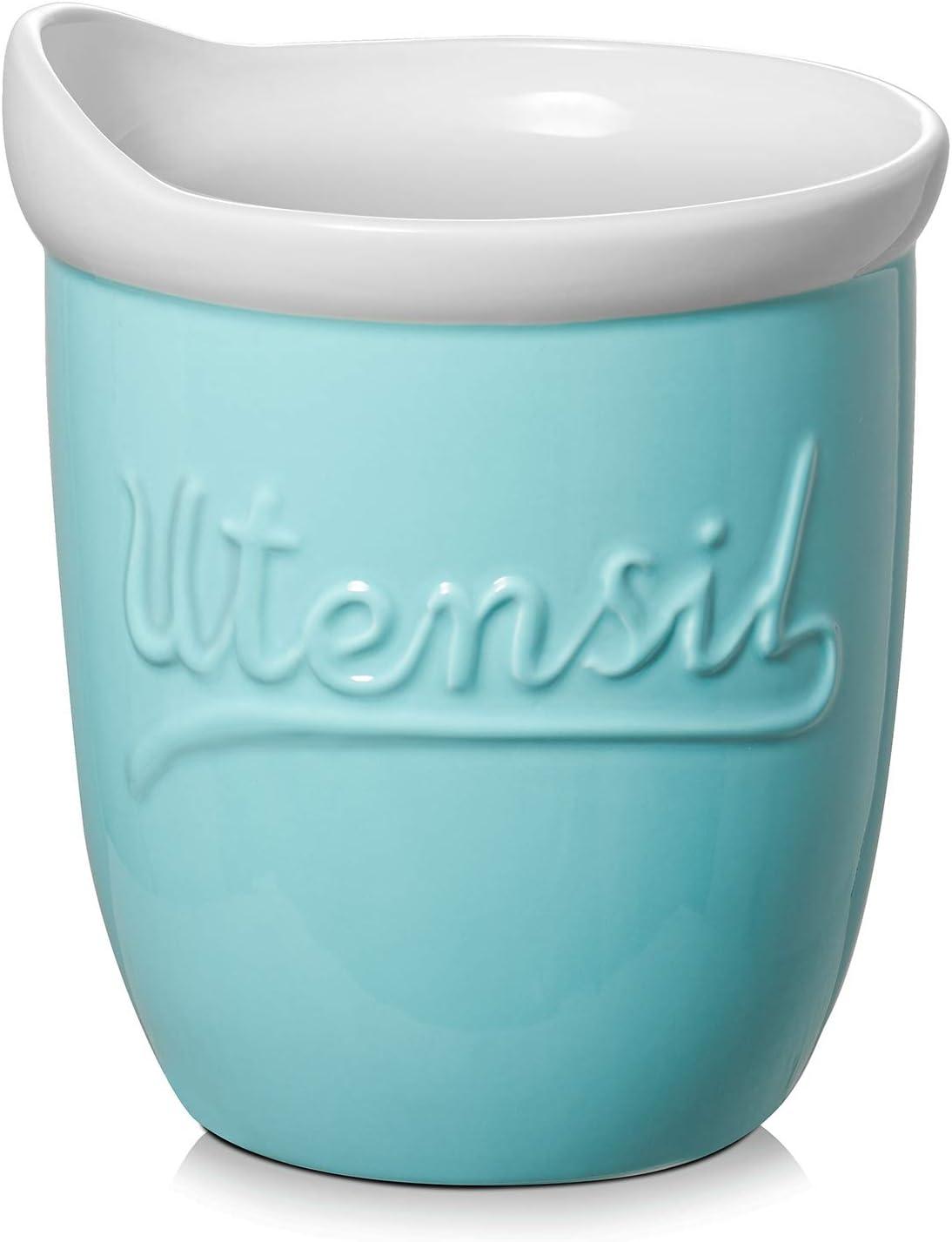 """DOWAN Kitchen Utensil Holder, 7.2"""" Large Utensil Holder for Countertop, Ceramic Utensil Crock Turquoise, Dishwasher Safe"""