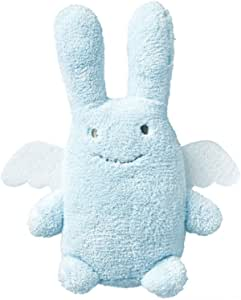 Trousselier V1080 02 - Conejo ángel de peluche con sonajero (12 cm), color azul