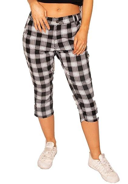6ae6d4862d9d ADB Collection Short Cuadros Estilo Slim para Mujer Pantalón Corto ...