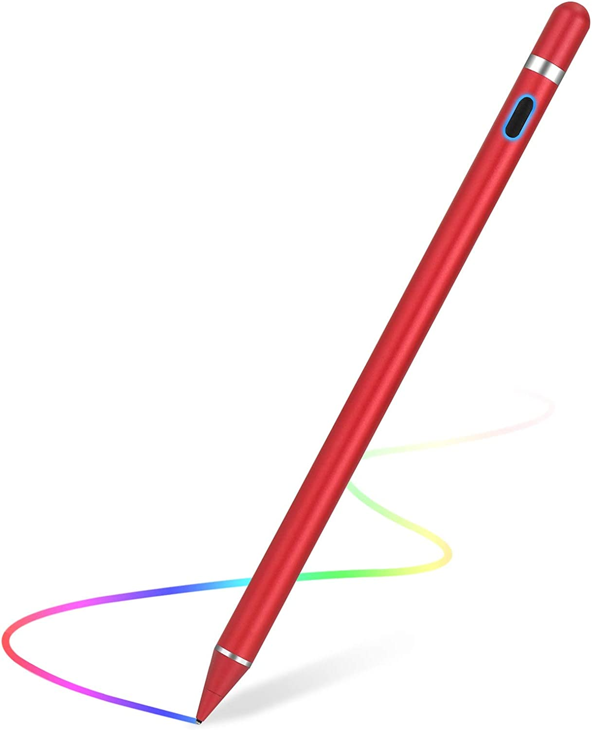 Stylus Pen for Touch Screens Rechargeable 1.5mm Fine Point Active Capacitive Stylus Smart Pencil Digital Compatible iPad and Most Tablet (RED)