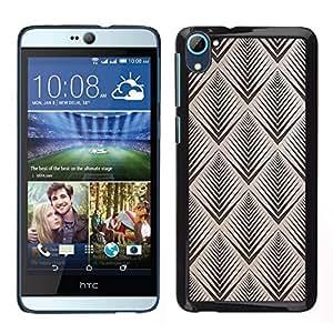 // PHONE CASE GIFT // Duro Estuche protector PC Cáscara Plástico Carcasa Funda Hard Protective Case for HTC Desire D826 / art deco brown pattern wallpaper retro /
