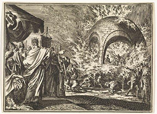 """Timeless Art Poster - Nebuchadnezzar see four people in the fiery furnace, Jan Luyken, 1712 17.5"""" x 24"""""""