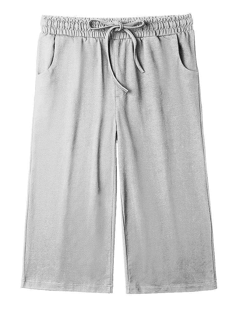 Women/'s Active Yoga Lounge Capri Pants Straight Leg Running Workout with Pocket