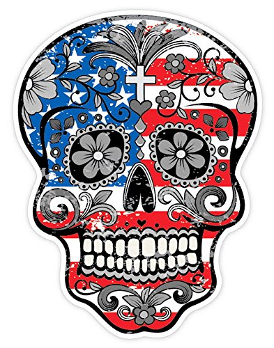 OSMdecals - Grunge American Flag Detailed Sugar Skull Sticker Series 1 - Mexican Day of the Dead Calavera Waterproof Car Decal Bumper Sticker