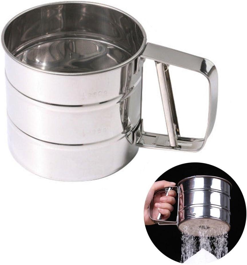 Stainless Steel Mesh Flour Sifter Mechanical Baking Icing Sugar Shaker Sieve Strainer Mesh Powder Cake Baking Kitchen Tool